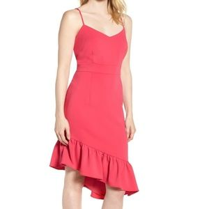 NORDSTROM Pink Asymmetric Ruffle Dress